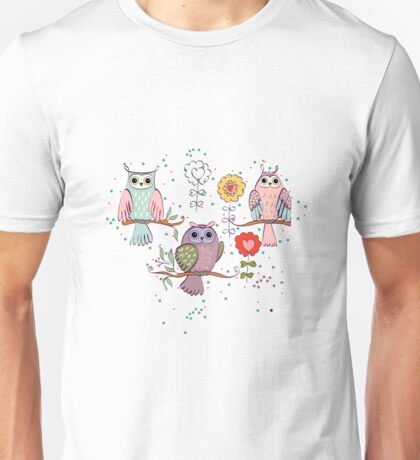 Cute owl and flowers 2  Unisex T-Shirt