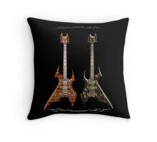 Duet Death Metal Guitars Throw Pillow