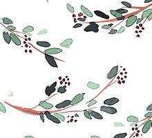 Watercolor Branches with Berries by Julia Hromova