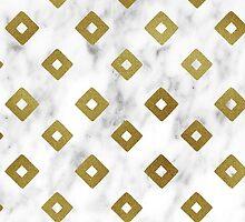 White Marble and Gold Geometric Pattern by Iveta Angelova