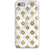 White Marble and Gold Geometric Pattern iPhone Case/Skin