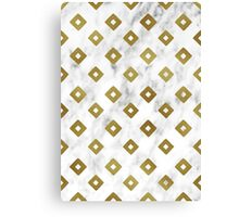 White Marble and Gold Geometric Pattern Canvas Print