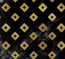 Black Marble and Gold Geometric Pattern by Iveta Angelova