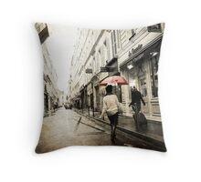 Red Umbrella, Paris Throw Pillow