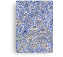 Moroccan Floral Lattice Arrangement - purple Canvas Print