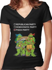 Ninja Turtles Pizza Party Women's Fitted V-Neck T-Shirt