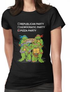 Ninja Turtles Pizza Party Womens Fitted T-Shirt