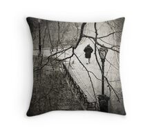 Walking the dog, Central Park NYC Throw Pillow