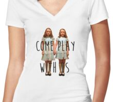 Come play with us Women's Fitted V-Neck T-Shirt
