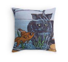 Cat Looking into Fish Bowl Throw Pillow