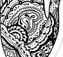 Paisley Henna Hand - Black Sticker