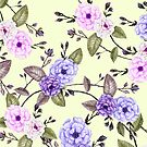 Climbing Roses, Purple on Lemon by ThistleandFox