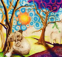 Psychedelic Elephants by Shawna Rowe