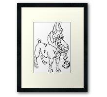 Doberman Pinscher Caricature Playful Dog Art Framed Print