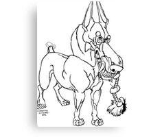 Doberman Pinscher Caricature Playful Dog Art Canvas Print