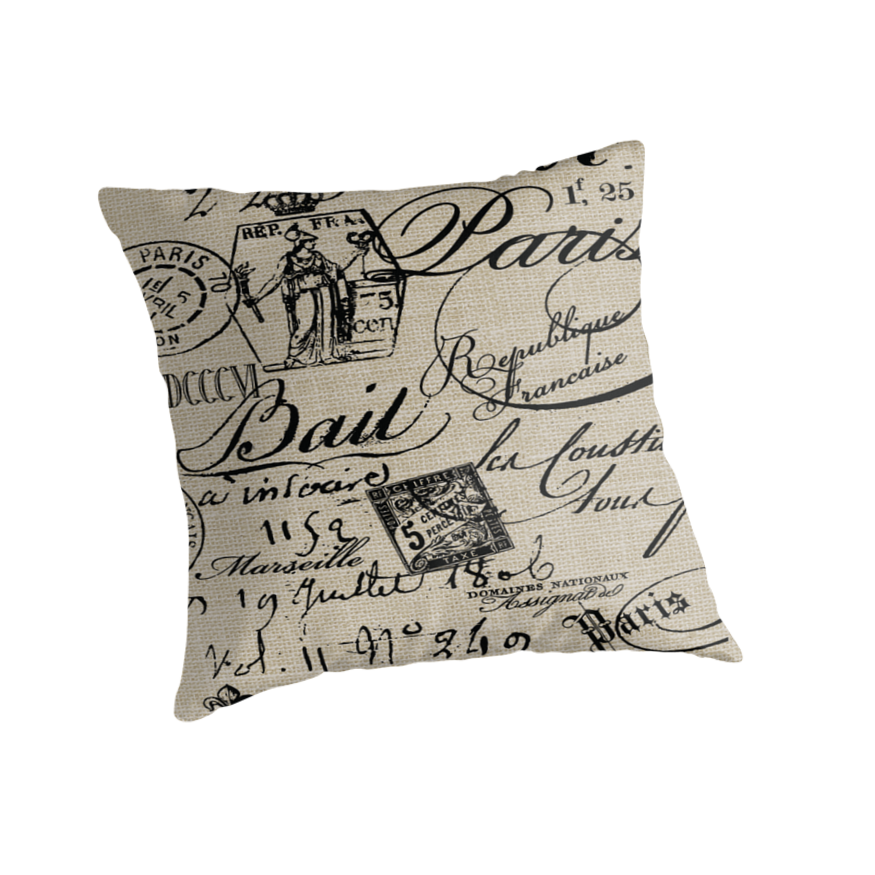 Throw Pillows With French Script :