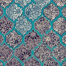 Moroccan Floral Lattice Arrangement - teal  by micklyn
