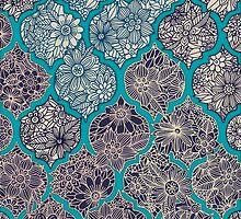 Moroccan Floral Lattice Arrangement - teal  by micklyn