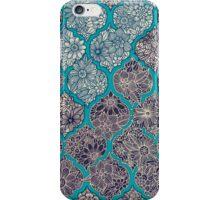 Moroccan Floral Lattice Arrangement - teal  iPhone Case/Skin