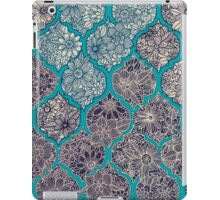Moroccan Floral Lattice Arrangement - teal  iPad Case/Skin