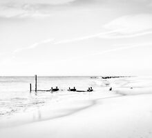 Cape May Shore in Black and White by Kadwell