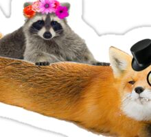Top fox and Lady raccoon. Sticker
