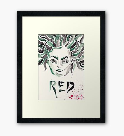 "Galina ""Red"" Reznikov (OITNB) (watercolour/aquarelle and ink) Framed Print"