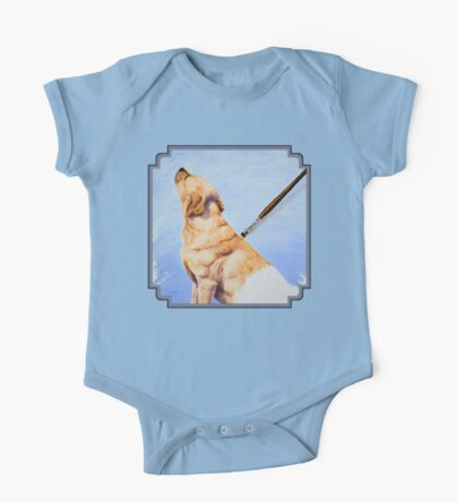 Brushing the Dog - Oil Painting One Piece - Short Sleeve