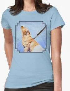Brushing the Dog - Oil Painting Womens Fitted T-Shirt