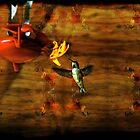 Hovering Hummingbird Cottage Scene by Val  Brackenridge