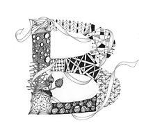 Zentangle®-Inspired Art - Tangled Alphabet - B Photographic Print