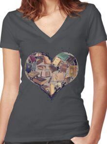 Dream with Books - Love of Reading Bookshelf Women's Fitted V-Neck T-Shirt
