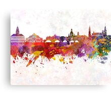 Dresden skyline in watercolor background Canvas Print