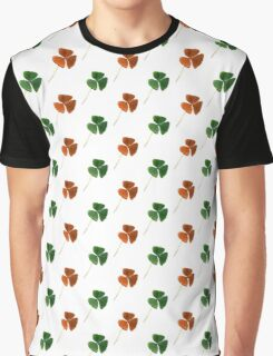Green And Orange Shamrocks Pattern Graphic T-Shirt