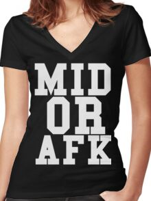 Mid Or Afk Women's Fitted V-Neck T-Shirt