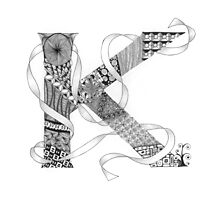 Zentangle®-Inspired Art - Tangled Alphabet - K Photographic Print