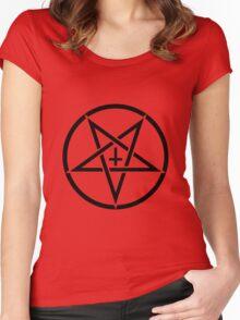 Pentagram with Upside Down Cross Women's Fitted Scoop T-Shirt