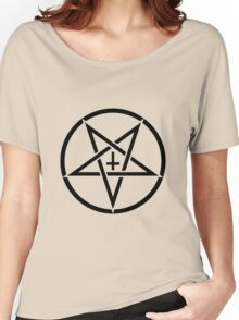 Pentagram with Upside Down Cross Women's Relaxed Fit T-Shirt