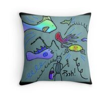 Cleaning Time At The Aquarium Throw Pillow