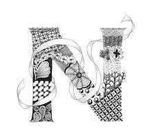 Zentangle®-Inspired Art - Tangled Alphabet - N Photographic Print