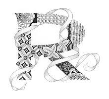 Zentangle®-Inspired Art - Tangled Alphabet - R Photographic Print