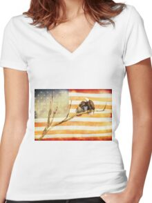 American Bald Eagle Salute Women's Fitted V-Neck T-Shirt