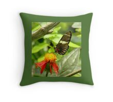 Black and White Butterfly on Flower Throw Pillow Throw Pillow