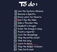 Commander Shepards To-Do List Kids Tee
