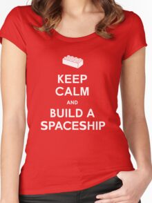 Keep Calm and Build a Spaceship Women's Fitted Scoop T-Shirt