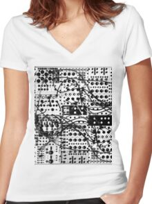 analog synthesizer modular system - black and white illustration Women's Fitted V-Neck T-Shirt
