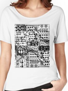 analog synthesizer modular system - black and white illustration Women's Relaxed Fit T-Shirt