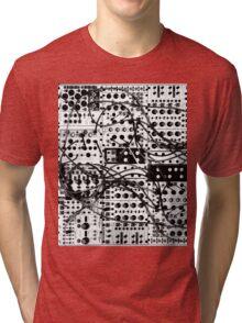 analog synthesizer modular system - black and white illustration Tri-blend T-Shirt