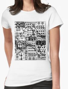 analog synthesizer modular system - black and white illustration Womens Fitted T-Shirt