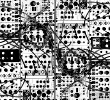 analog synthesizer modular system - black and white illustration Sticker